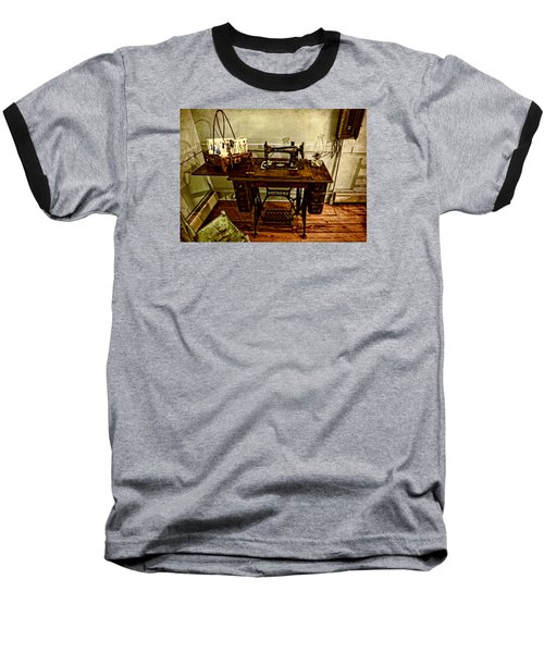 Vintage Singer Sewing Machine Baseball T-Shirt by Judy Vincent
