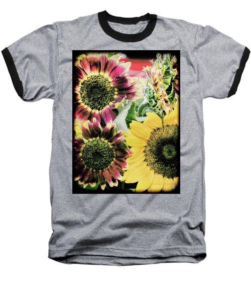 Vintage Sunflowers Baseball T-Shirt by Karen Lewis