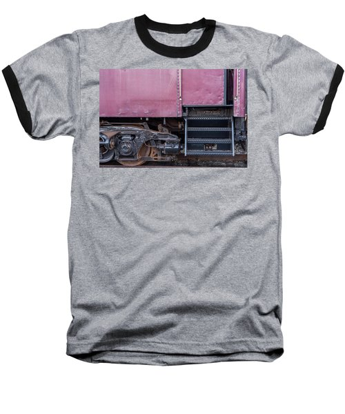 Baseball T-Shirt featuring the photograph Vintage Train Car Steps by Terry DeLuco