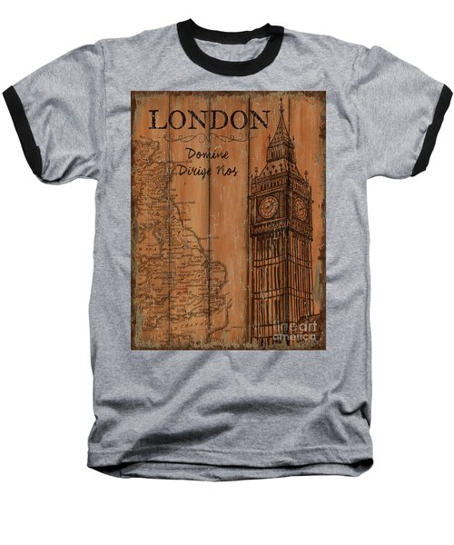 Baseball T-Shirt featuring the painting Vintage Travel London by Debbie DeWitt