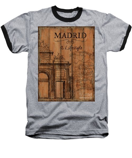 Baseball T-Shirt featuring the painting Vintage Travel Madrid by Debbie DeWitt