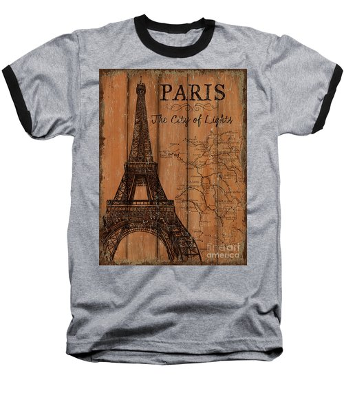 Baseball T-Shirt featuring the painting Vintage Travel Paris by Debbie DeWitt