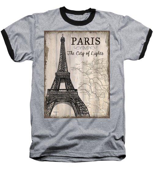 Vintage Travel Poster Paris Baseball T-Shirt by Debbie DeWitt
