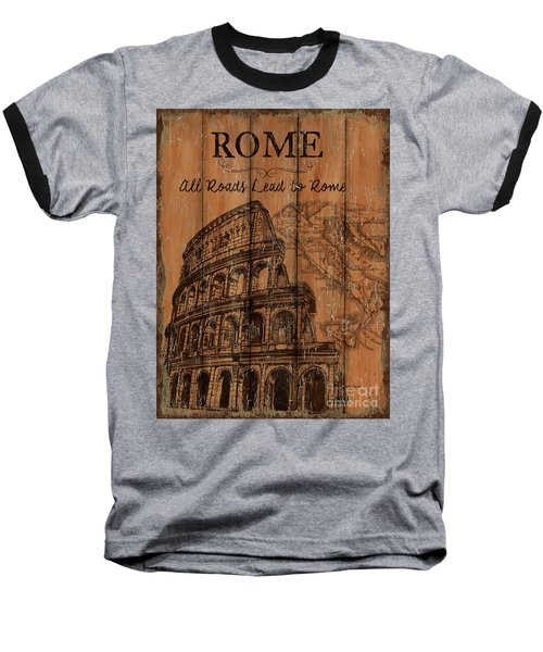 Baseball T-Shirt featuring the painting Vintage Travel Rome by Debbie DeWitt