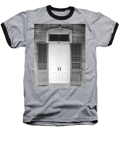 Baseball T-Shirt featuring the photograph Vintage Tropical Weathered Key West Florida Doorway by John Stephens