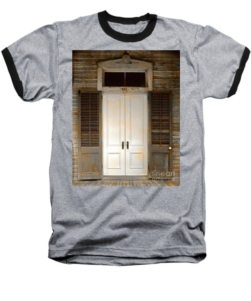 Vintage Tropical Weathered Key West Florida Doorway Baseball T-Shirt by John Stephens
