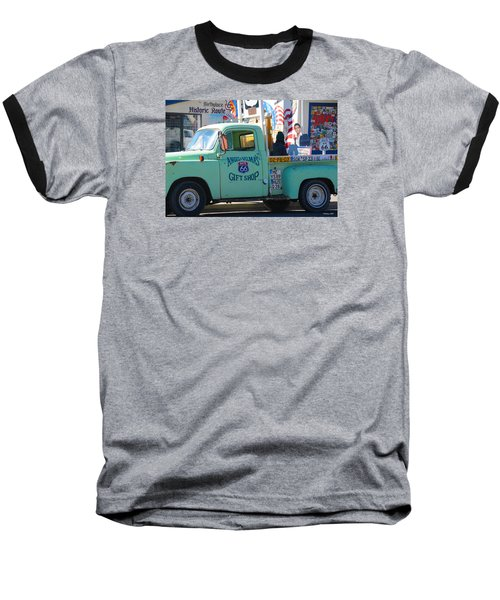 Vintage Truck With Elvis On Historic Route 66 Baseball T-Shirt