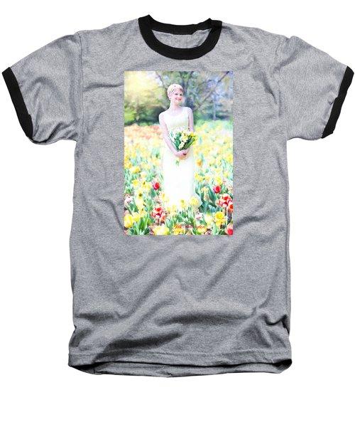 Vintage Val Spring Tulips Baseball T-Shirt by Jill Wellington