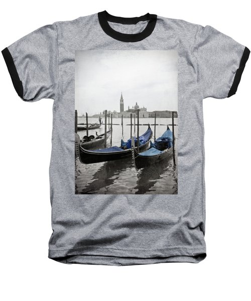 Vintage Venice In Black, White, And Blue Baseball T-Shirt by Brooke T Ryan