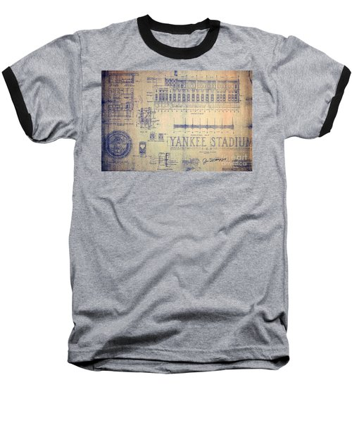 Vintage Yankee Stadium Blueprint Signed By Joe Di Maggio Baseball T-Shirt by Peter Gumaer Ogden Collection