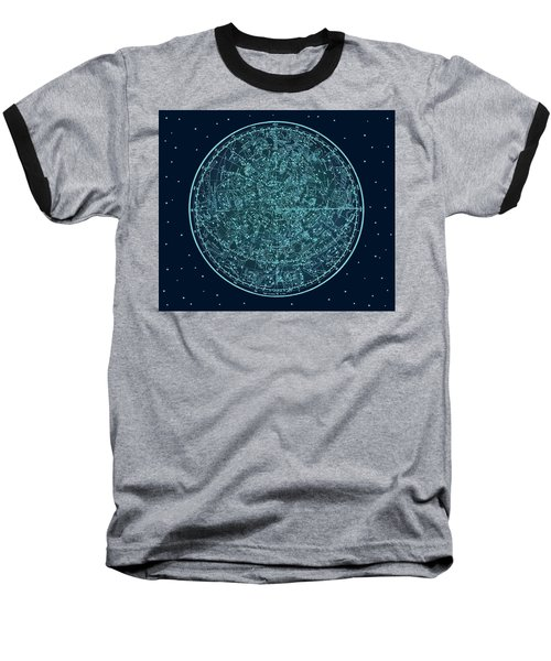 Vintage Zodiac Map - Teal Blue Baseball T-Shirt