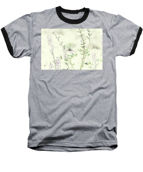 Violet And Green Bloom Baseball T-Shirt by Amyn Nasser