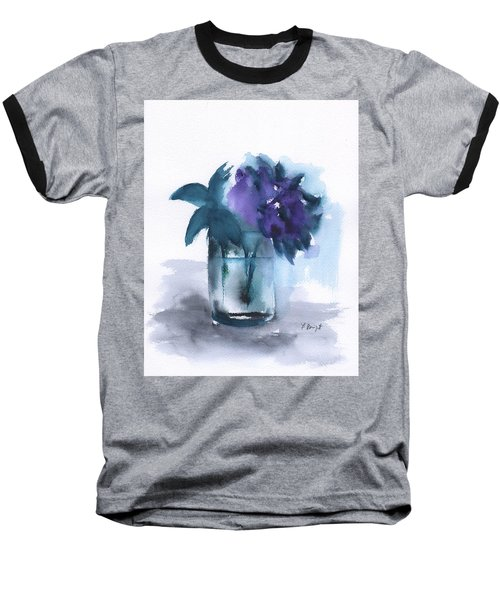 Violets In A Glass Abstract Baseball T-Shirt by Frank Bright