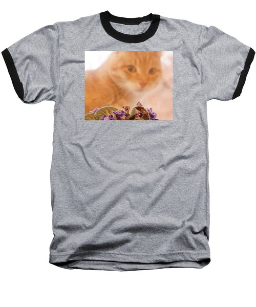Violets With Cat Baseball T-Shirt