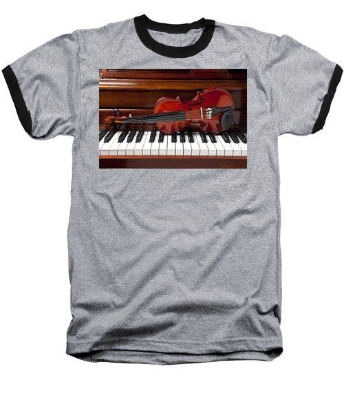 Violin On Piano Baseball T-Shirt by Garry Gay