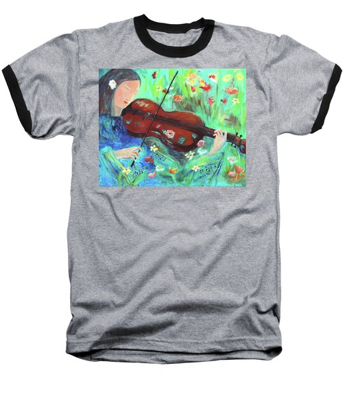 Violinist In Garden Baseball T-Shirt