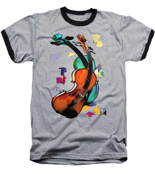 Violins Baseball T-Shirt by Melanie D