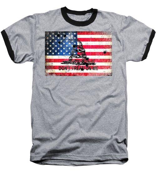 Viper N Bullet Holes On Old Glory Baseball T-Shirt by M L C