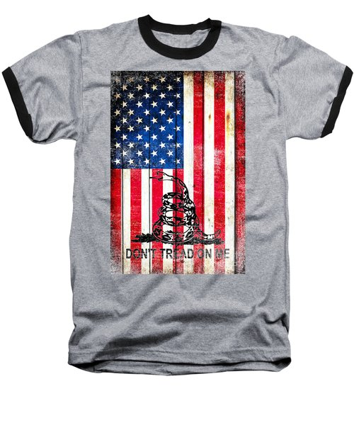 Viper On American Flag On Old Wood Planks Vertical Baseball T-Shirt by M L C