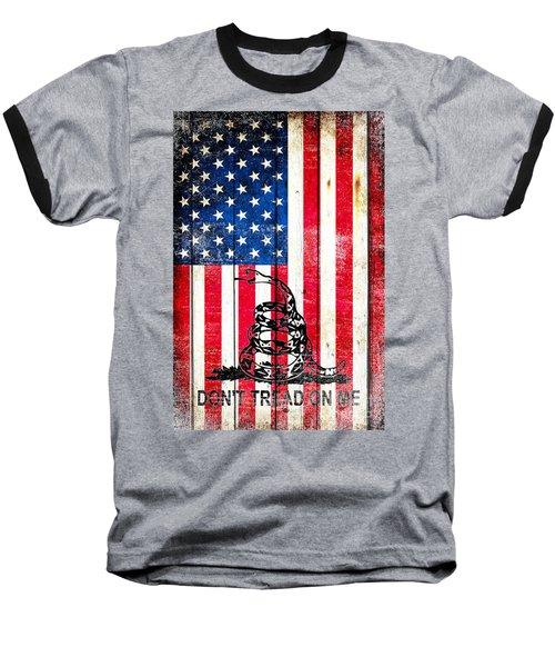 Viper On American Flag On Old Wood Planks Vertical Baseball T-Shirt