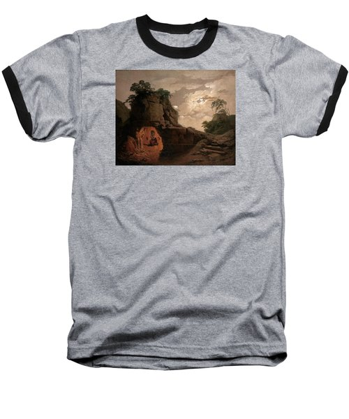 Baseball T-Shirt featuring the painting Virgil's Tomb By Moonlight With Silius Italicus Declaiming by Joseph Wright of Derby