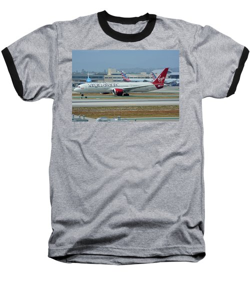 Baseball T-Shirt featuring the photograph Virgin Atlantic Boeing 787-9 G-vzig Los Angeles International Airport May 3 2016 by Brian Lockett