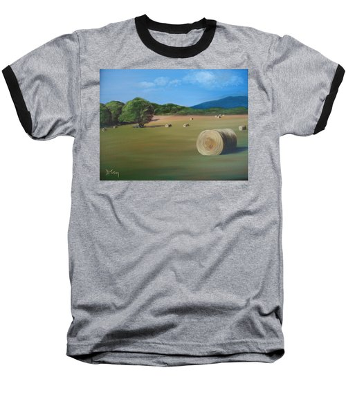 Baseball T-Shirt featuring the painting Virginia Hay Bales by Donna Tuten