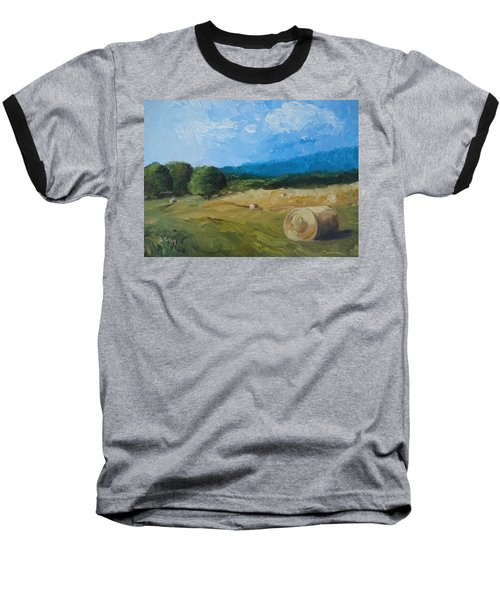 Baseball T-Shirt featuring the painting Virginia Hay Bales II by Donna Tuten