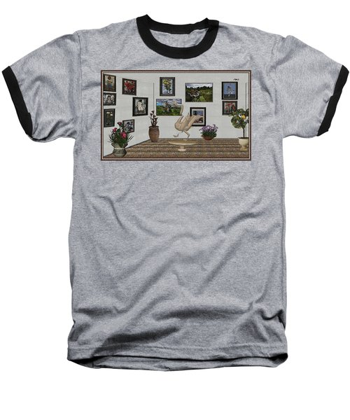 Baseball T-Shirt featuring the mixed media virtual exhibition_Statue of swan 23 by Pemaro