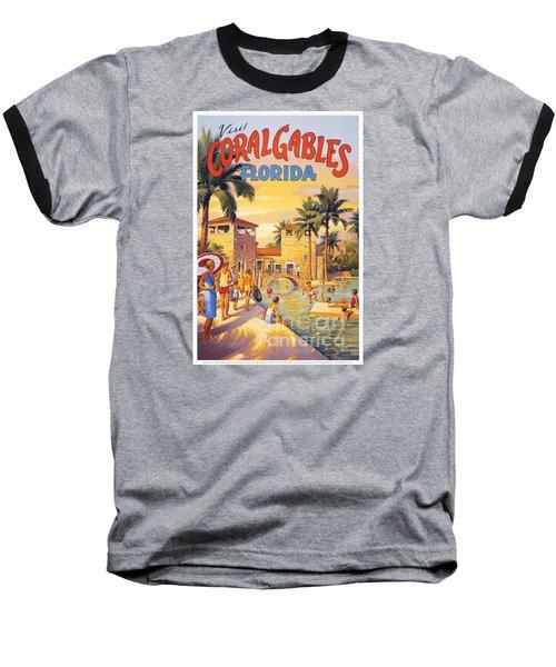 Visit Coral Gables-florida Baseball T-Shirt by Nostalgic Prints