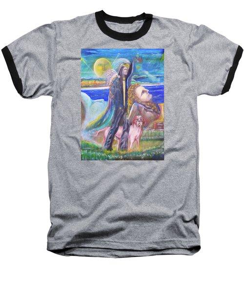 Visiting Star Beings Baseball T-Shirt by Kicking Bear  Productions