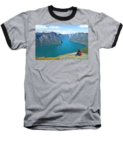 Visitor At Aurlandsfjord Baseball T-Shirt