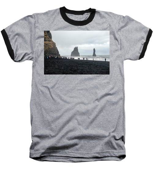 Baseball T-Shirt featuring the photograph Visitors In Reynisfjara Black Sand Beach, Iceland by Dubi Roman