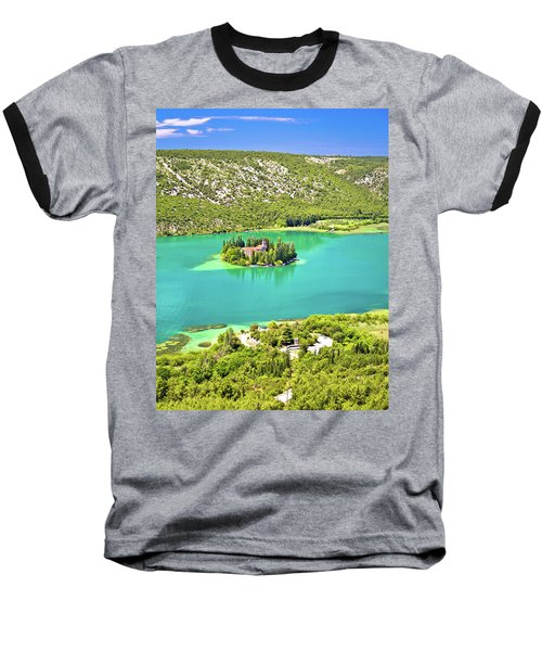 Visovac Lake Island Monastery Aerial View Baseball T-Shirt by Brch Photography