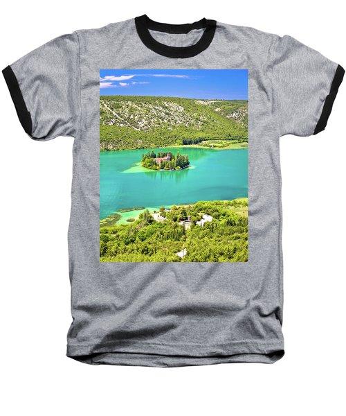 Visovac Lake Island Monastery Aerial View Baseball T-Shirt