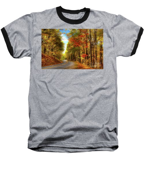 Baseball T-Shirt featuring the painting Vivid Autumn In The Blue Ridge Mountains Ap by Dan Carmichael