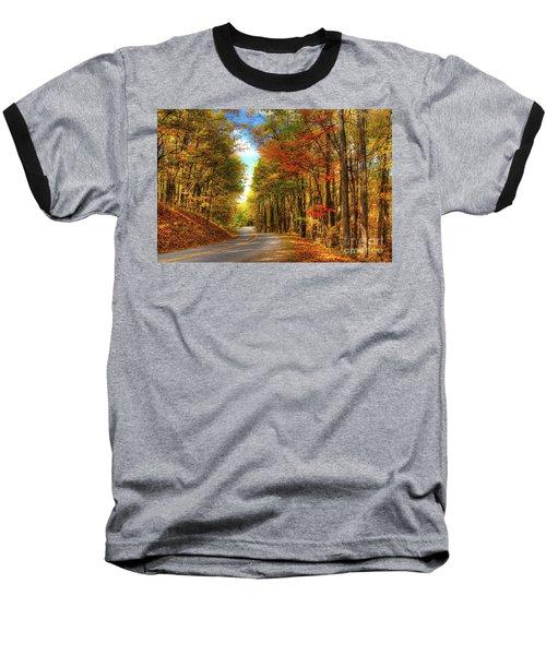 Vivid Autumn In The Blue Ridge Mountains Baseball T-Shirt by Dan Carmichael