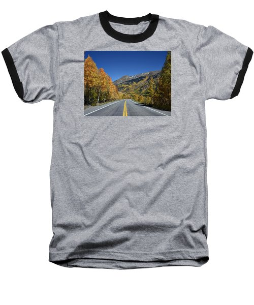 Vivid Fall Colors On The Million-dollar Highway In San Juan County In Colorado  Baseball T-Shirt