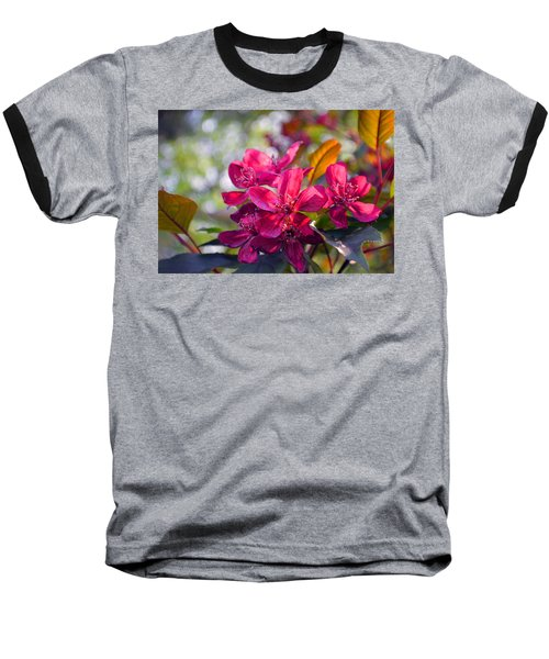 Vivid Pink Flowers Baseball T-Shirt
