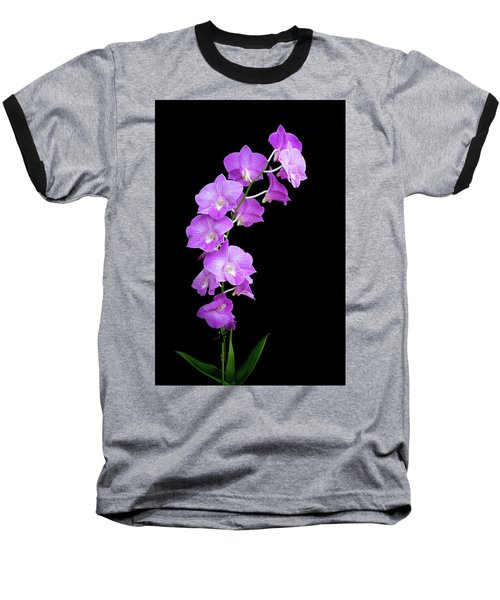 Vivid Purple Orchids Baseball T-Shirt