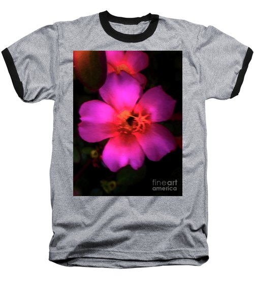 Vivid Rich Pink Flower Baseball T-Shirt