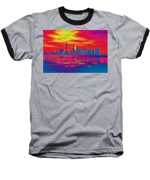 Vivid Skyline Of New York City, United States Baseball T-Shirt