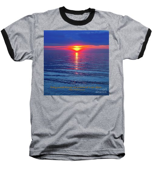 Vivid Sunset - Emerson Quote - Square Format Baseball T-Shirt by Ginny Gaura