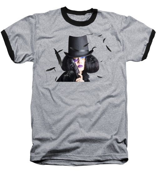 Vogue Woman In Black Costume Baseball T-Shirt by Jorgo Photography - Wall Art Gallery