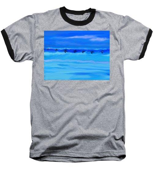 Vol De Pelicans Baseball T-Shirt by Aline Halle-Gilbert