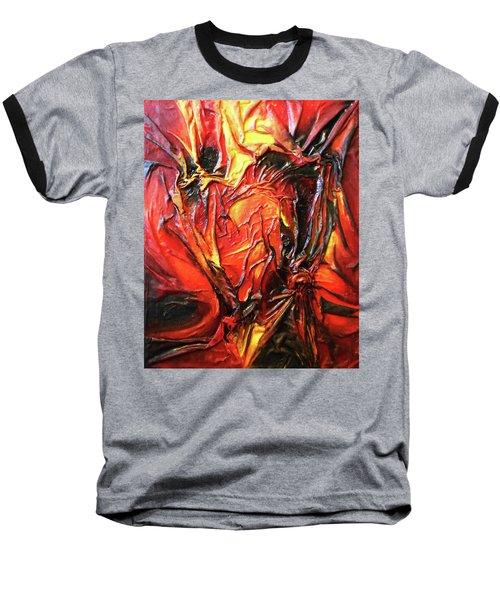 Volcanic Fire Baseball T-Shirt by Angela Stout