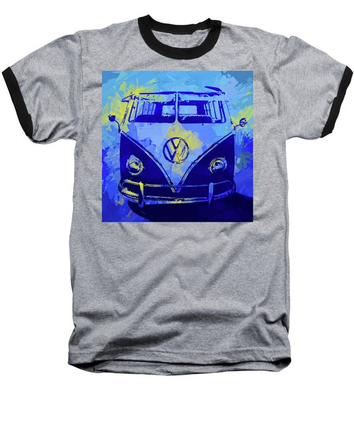 Volkswagen Bus Pop Blue Baseball T-Shirt