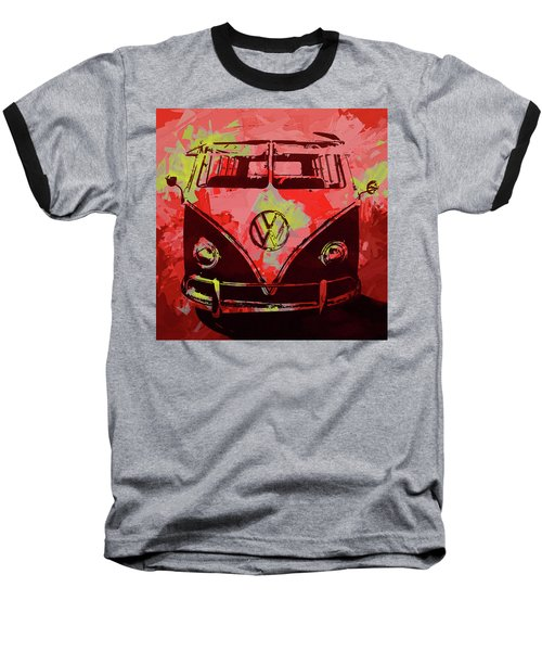 Volkswagen Bus Pop Red Baseball T-Shirt