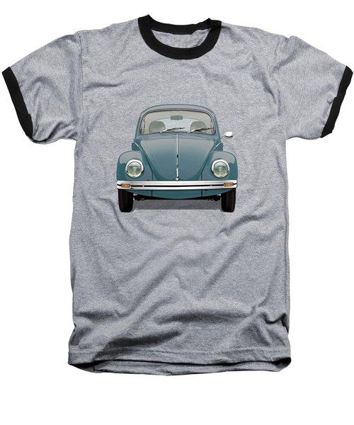 Volkswagen Type 1 - Blue Volkswagen Beetle On Yellow Canvas Baseball T-Shirt