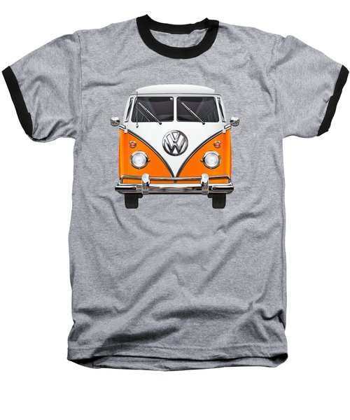 Volkswagen Type - Orange And White Volkswagen T 1 Samba Bus Over Blue Canvas Baseball T-Shirt by Serge Averbukh